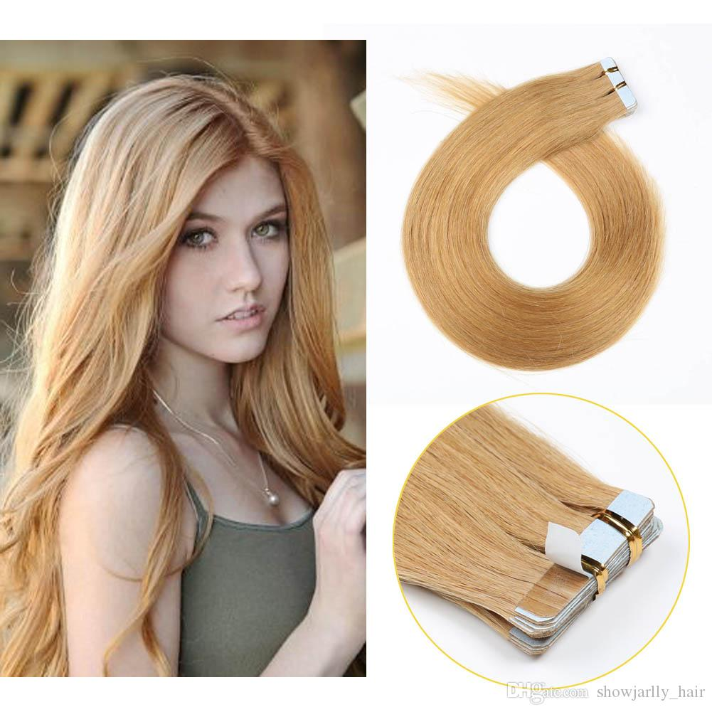 05b97974443 Strawberry Blonde Glue Tape in Human Hair Extensions Balayage Seamless  Silky Straight Skin Weft Remy Virgin Hair #27