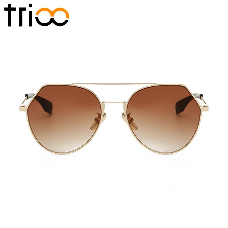TRIOO Brown Gradient Sunglasses Women Pilot Round Shades Diseño de moda Ladies Summer Oculos Lunette Metal Gold Gafas de sol
