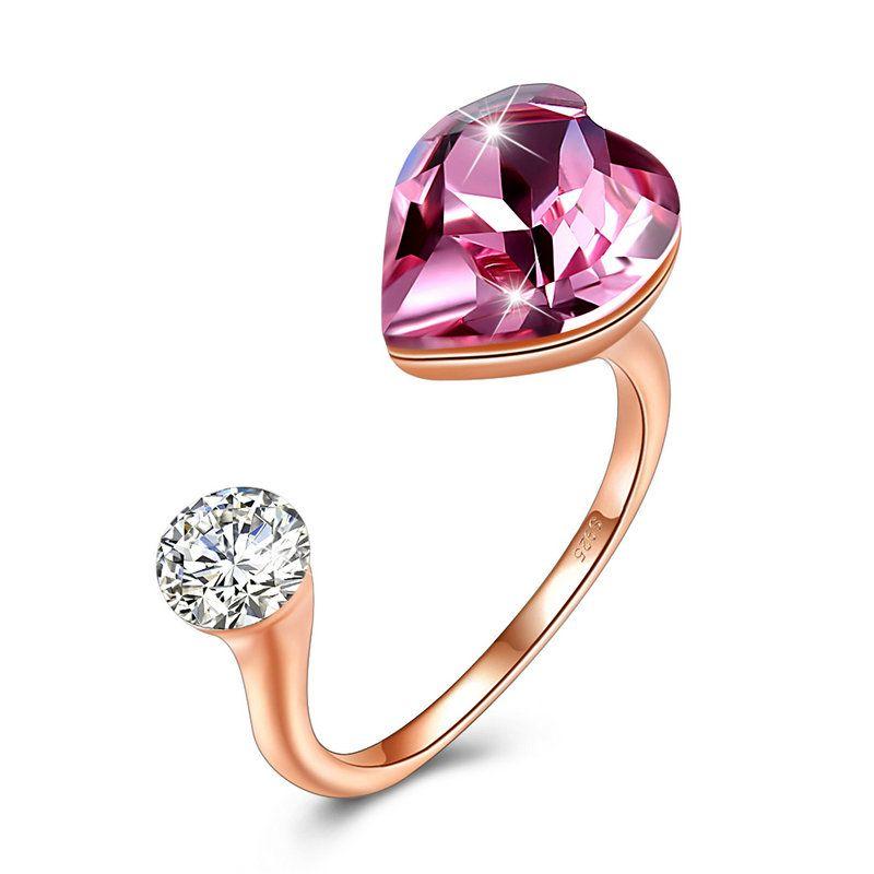 768595e9d 2019 925 Sterling Silver Cubic Zirconia Rings For Women Love Heart Shape  Pink Sky Blue Swarovski Elements Crystal Rings Jewelry From Elva_lau, ...