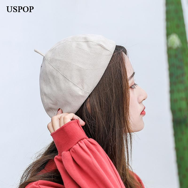 aaf6153286d USPOP 2018 Fashion Women Beret New Warm Suede Berets Hat Female ...