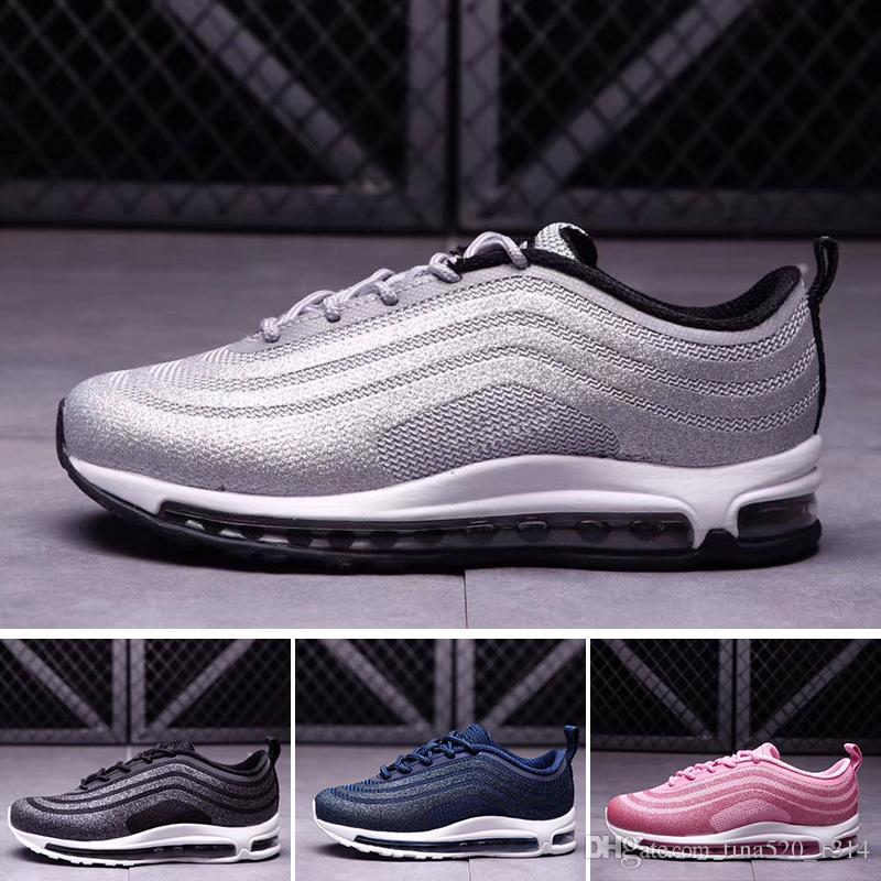Nike air max 97 Freies Verschiffen 97 LX Kinder Runing Shoes Jungen Läufer  Silber Rosa Blau Schwarz Kinder Kleinkind athletische Jungen Mädchen ...