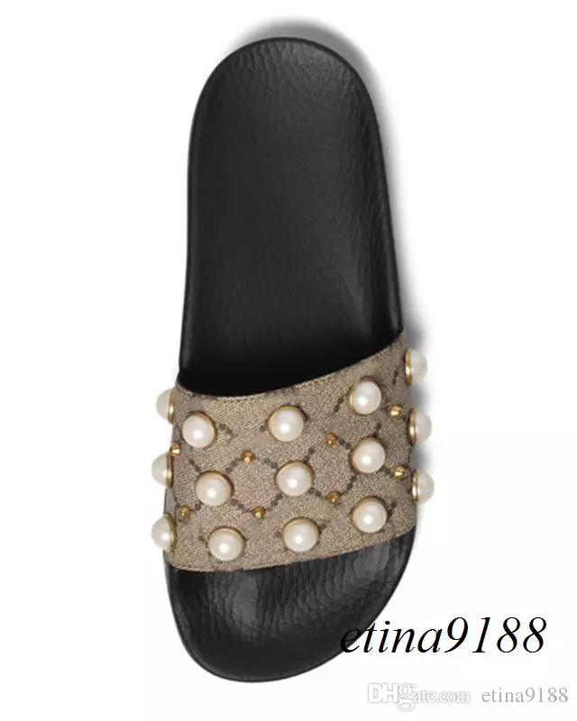 2018 Men's and Women's Fashion Rubber Slippers Sandals with Pearl Effect and Gold Studs Outdoor Beach Slippers sale online cheap 5yixe
