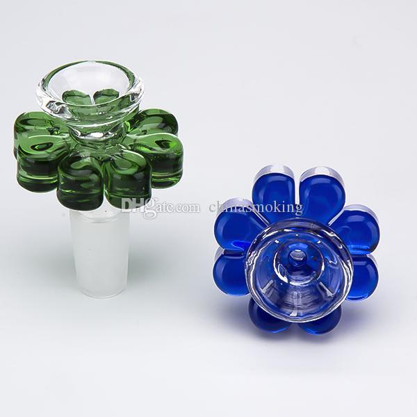 Renkli Cam Kase Herb Tutucu Çiçek tarzı 10mm 14mm 18mm Erkek Bong Bong Için Boru Duman Su Borusu