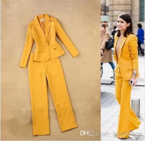 Compre Para Mujer Trajes Formales Pantalones Amarillos Mujeres Damas Por  Encargo Oficina De Negocios Esmoquin Trajes De Ropa De Trabajo Formal A   100.5 Del ... 7a176bad82a5