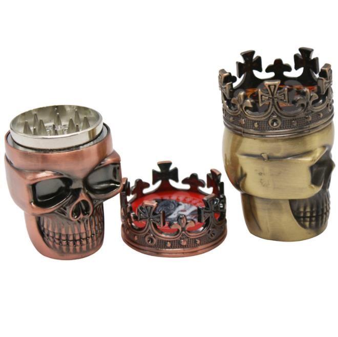 Molinillo de humo plástico en forma de cráneo, molino de humo de tres metales, cortador de humo manual.