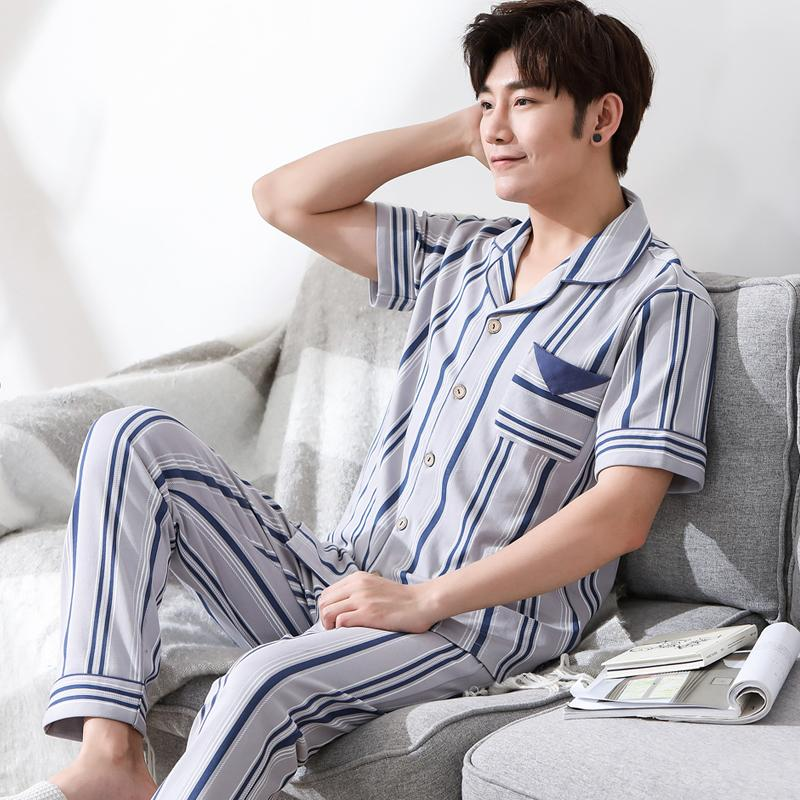 2019 New Arrival Summer 100%Coon Striped Men s Short Sleeved Pajamas Set  Turn Down Collar Soft Loose Big Size L 3XL Male Sleepwear From Balljoy c4d2b28eb