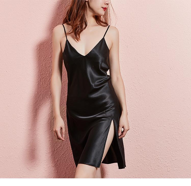 c125256416ec 2019 Black Green Red Slip Silk Satin Women Nightgown Women Sleepwear Sexy V  Neck Sleep Night Dress Home Wear Clothes Nightwear From Jellwaygood