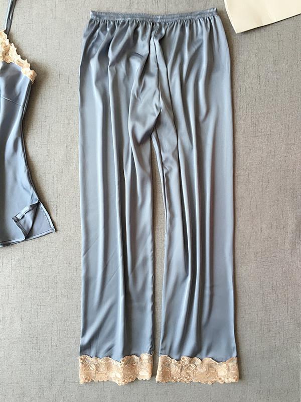 6552733593 2019 Women Satin Sleep Bottoms Trousers Elastic Waist Casual Pajamas  Nightwear Lounge Pants From Hannahao