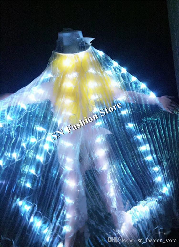 DC35 Ballroom dance led costumes butterfly women dresses sexy wings catwalk bar party performance stage show clothe club hats dj ballet bra