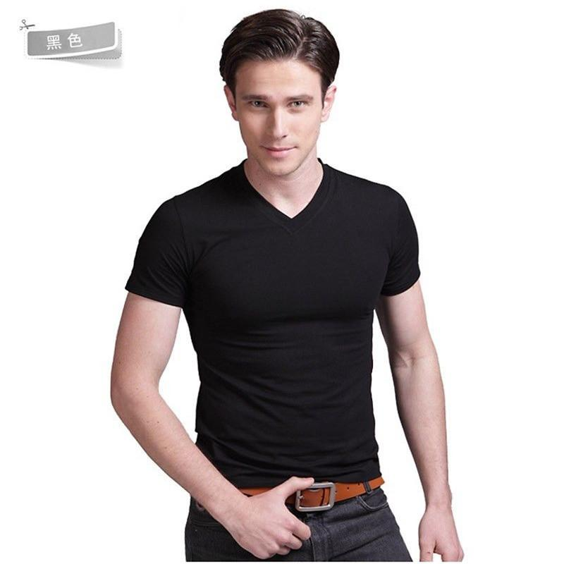 5c6e52da20b Men Slim Fit V Neck Crew Neck Cotton T Shirt Short Sleeve Plain Muscle Tee  Top Black White Casual Shirts Best Designer T Shirts Funny Team Shirts From  Hoto