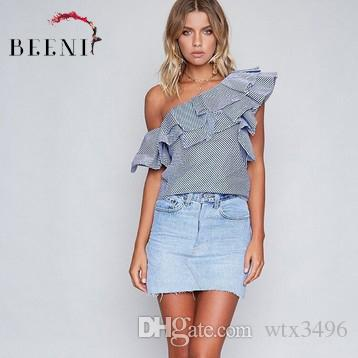 4b4342ca9bd3 2019 Women Summer One Shoulder Ruffle Top Two Wear Method Off Shoulder  Stripped Ruffle Blouse For Ladies From Wtx3496
