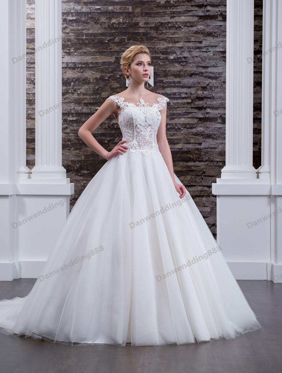Charming White Tulle Jewel Applique Beads A-Line Wedding Dresses Bridal Pageant Dresses Wedding Attire Dresses Custom Size 2-16 ZW608068