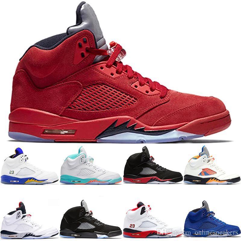 2958fe09ed4 Compre Nike Air Jordan Retro Tênis De Basquete 5 5s Homens Mulheres Bred  Light Aqua Laney Vermelho Azul Camurça Cimento Branco Metálico Barato Preto  Mens ...