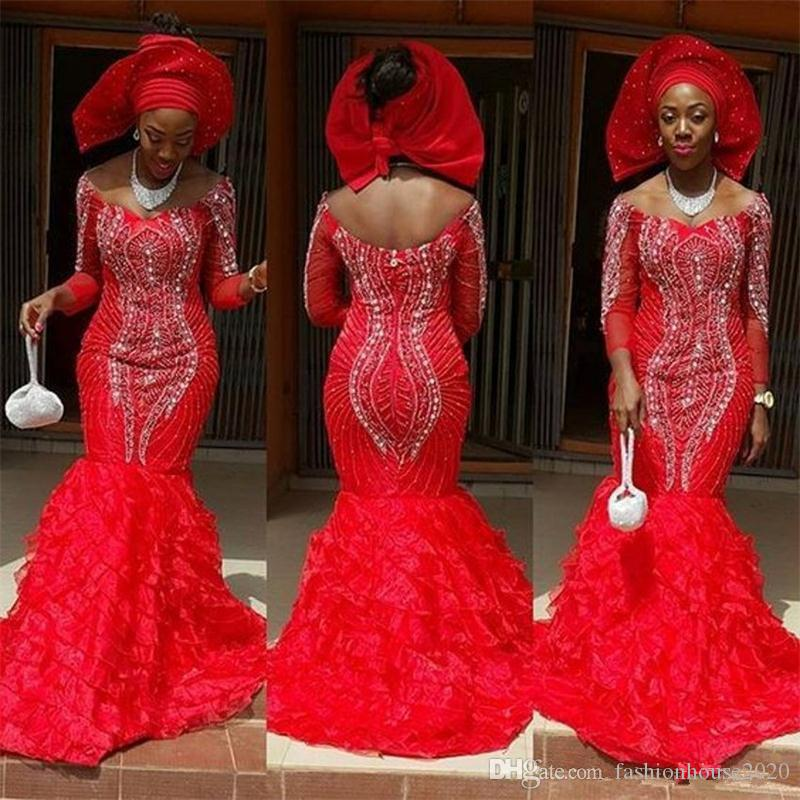 2018 Red Black Girl Evening Dresses Off Shoulder 3/4 Long Sleeves Crystal Beads Organza Tiered Mermaid Custom Muslims Prom Dress Party Gowns