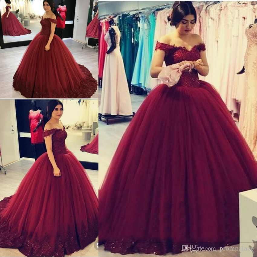 498ee04ad62a0 Gorgeous Hot Burgundy Quinceanera Dresses Capped Sleeves Ball Gown Prom  Dresses Sweet 16 Dress Pageant Masquerade Gowns Cheap For Sale Damas Dresses  For ...