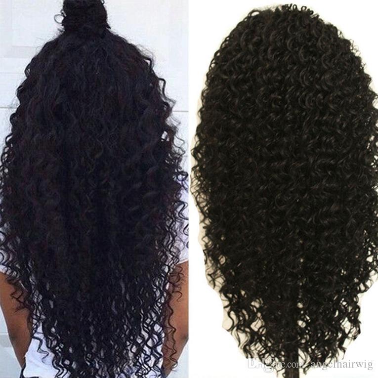 Afro Kinky Curly Hair 8A Natural Deep Curl Full Lace Wig Malaysia Afro Kinky Curly Front Lace Wig Soft Cheap Human hair Wigs
