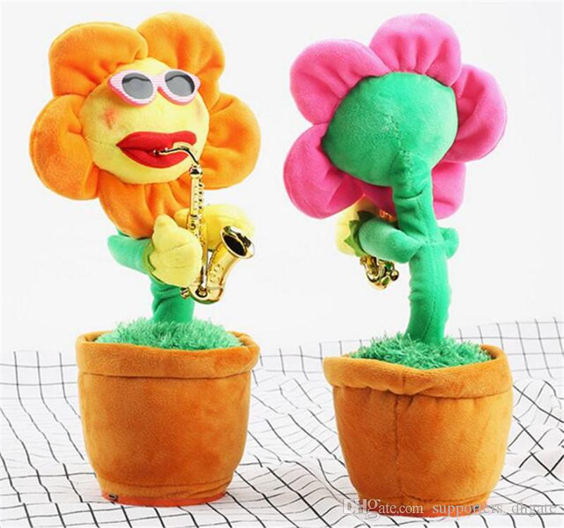 Novelty electric sunflowers Toy singing Music Sexy Musical enchanting Flower Dancing Saxophone Stuffed bluetooth play and build-in 72 songs