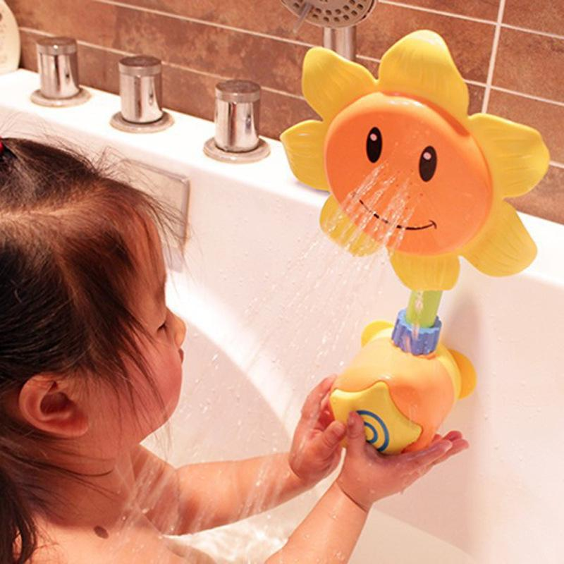 1 Set Sunflower Baby Kids Bath Tools Toys Water Shower Spray Bathing Tub Fountain Swimming Pool Bathtub Water Toys for Children random color