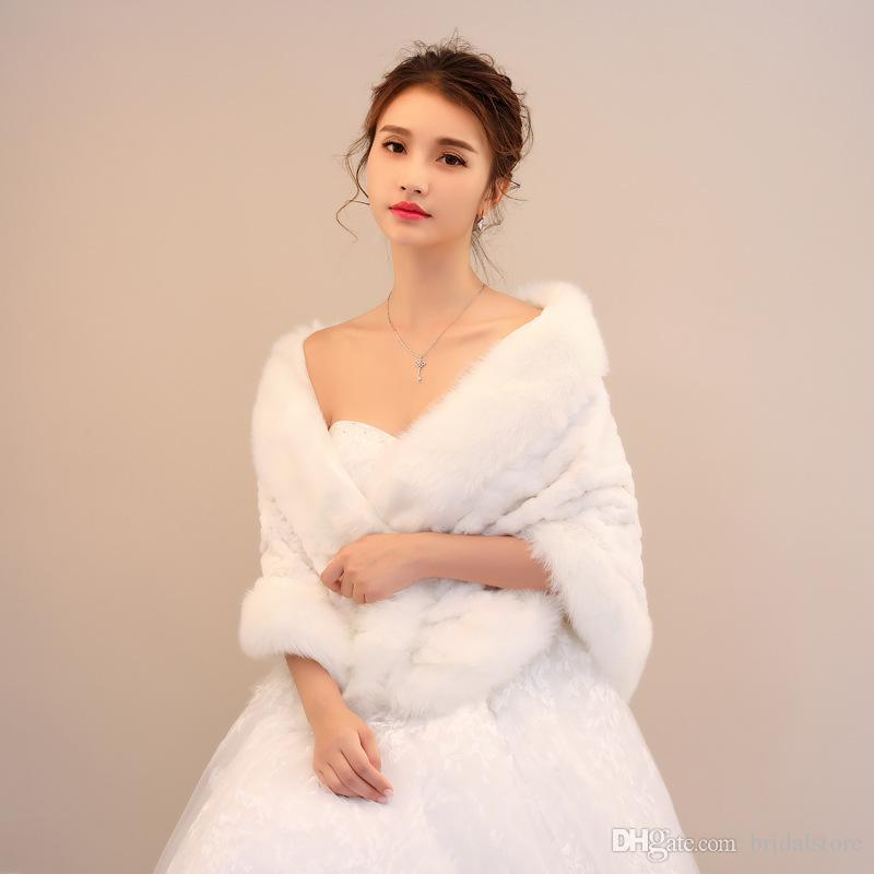 New Arrival Faux Fur Bridal Wraps Winter Rabbit Keep Warm shrug sleeves Bridal Wraps& Fashion bridal wraps and boleros wedding dress topper