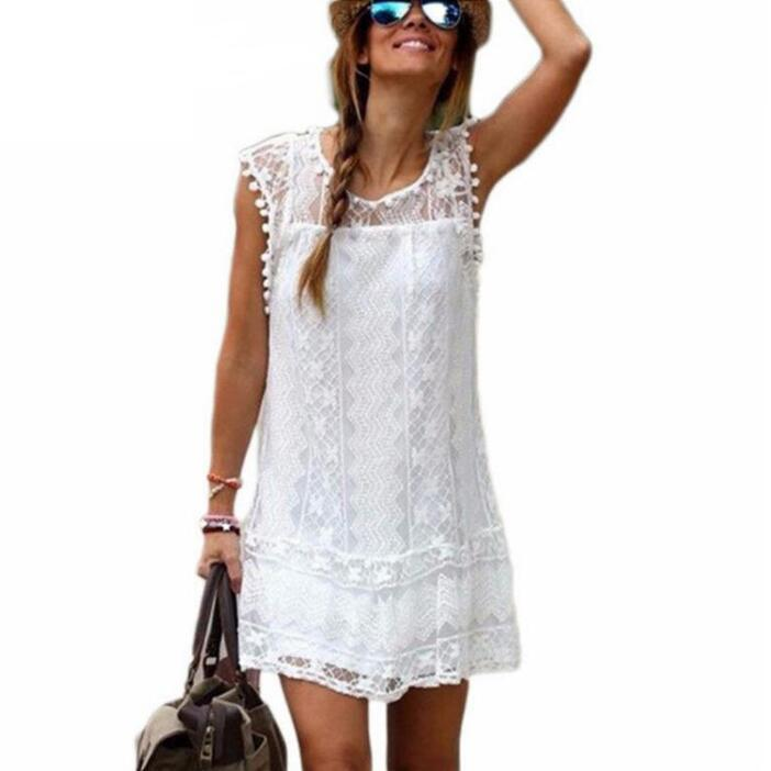 53aa3989f0ab9 Summer Dress 2019 Women Casual Beach Short Dress Tassel Black White Mini  Lace Dress Sexy Party Dresses Vestidos S-XXL