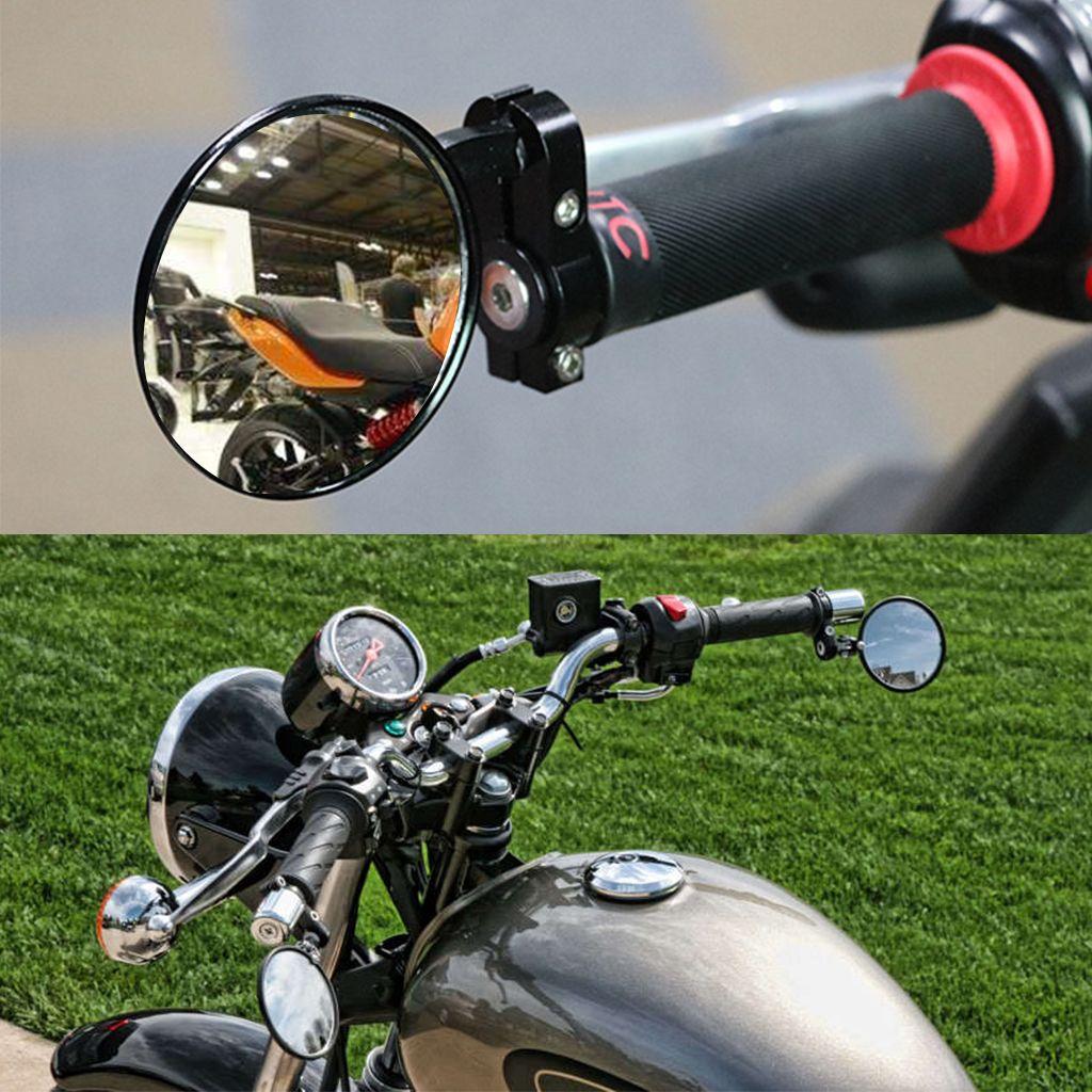 Par de manijas de la motocicleta Extremos de la barra del motor Espejo Moto Vista trasera Espejo lateral Retrovisores negros
