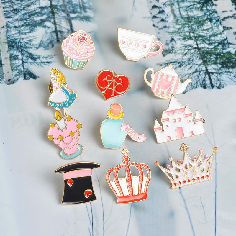 Alice In Wonderland Pin Brooch Palace Crown Teapot Cup Hat Enamel Badge Pin  Cute Girl Jewelry