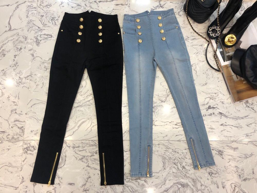 2018 new women double breasted pencil pants jeans 2 color ddxgz3