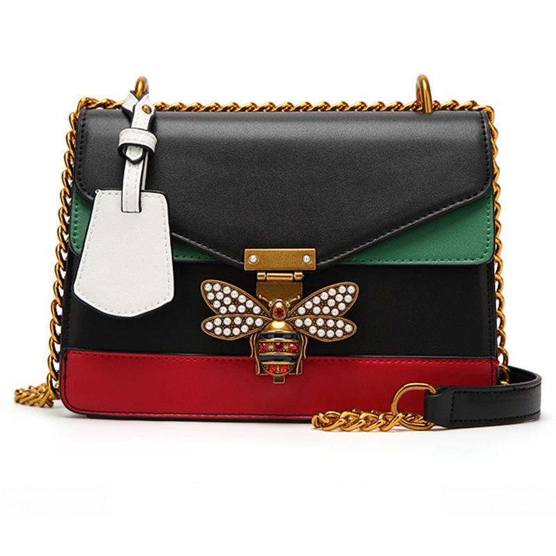 e972cbc1f9fe Handbags Women Color Splicing Little Bee Bags Fashion Zipper ...