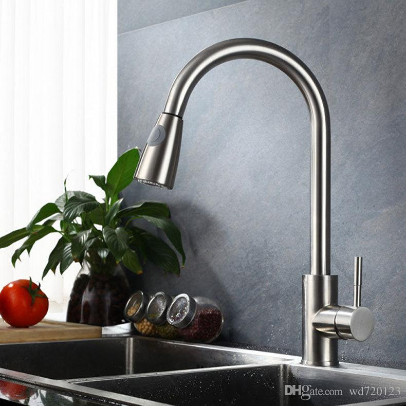 Brushed Nickel Kitchen Faucet Pull Out Sprayer Single Hole Swivel