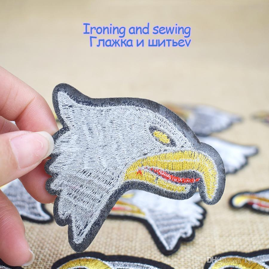 Diy Eagle Head Patches Stripe Sewing Embroidered Clothing Patch Ironing on Jacket Transfer Applique Patches for Fabrics Badges Accessories