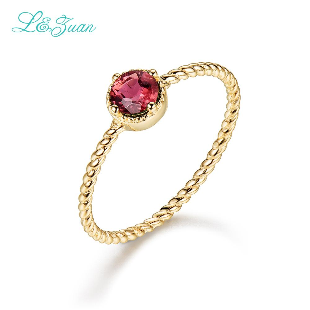 8e50a12e96c 2019 14k Gold Natural Tourmaline Round Red Stone Wedding Rings For