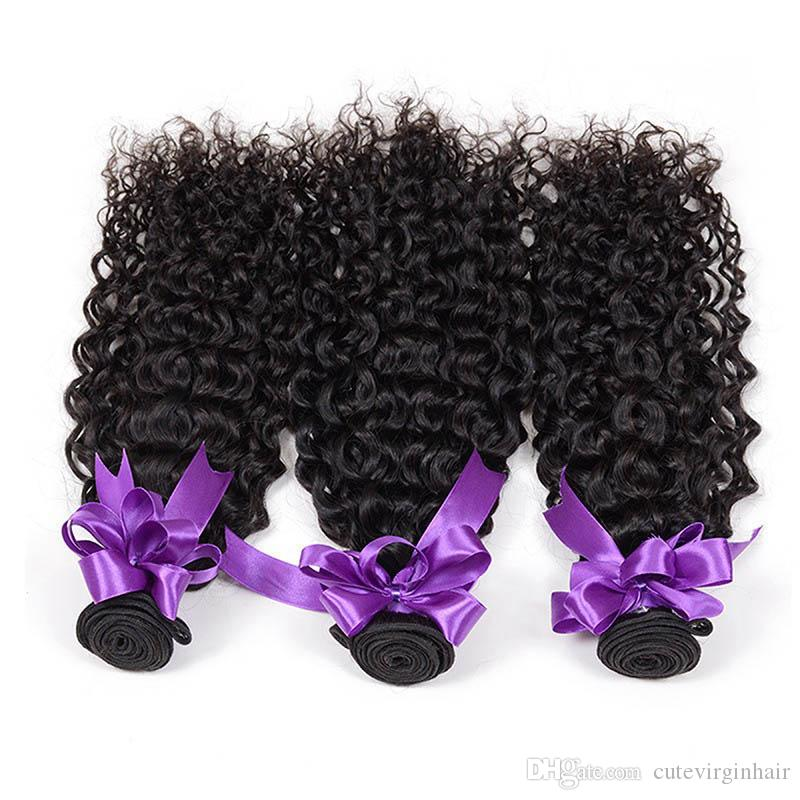 Kinky Curly 3 Bundles 100 g / Pc pelo al por mayor proveedor brasileño peruano Virgen Virgen cabello humano teje extensión Color natural 10-30 pulgadas