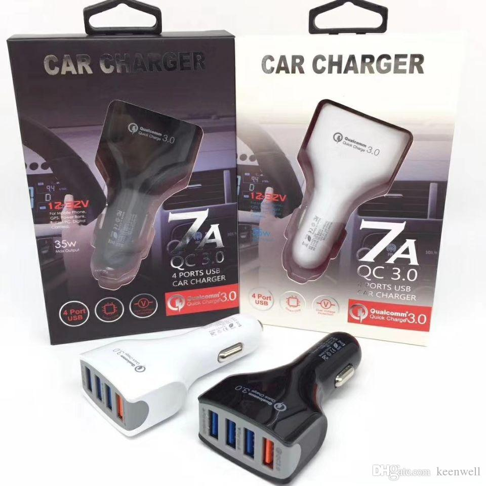 Universal New QC3.0 Quick Charge With 4 USB Port Fast Car Charger for Iphone Samsung With retail box