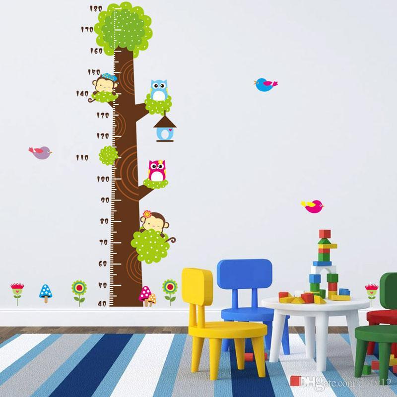 Hot sale Owl monkey Bird flower tree growth chart Wall Stickers art home decorations animal cartoon children wall decals