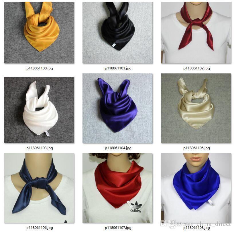 Mädchenfrauen Mens feste Ebene 100% Maulbeersatin Silk Schal Quadrat Schals Halstücher Geschenkzusatz 65 * 65cm # 4084