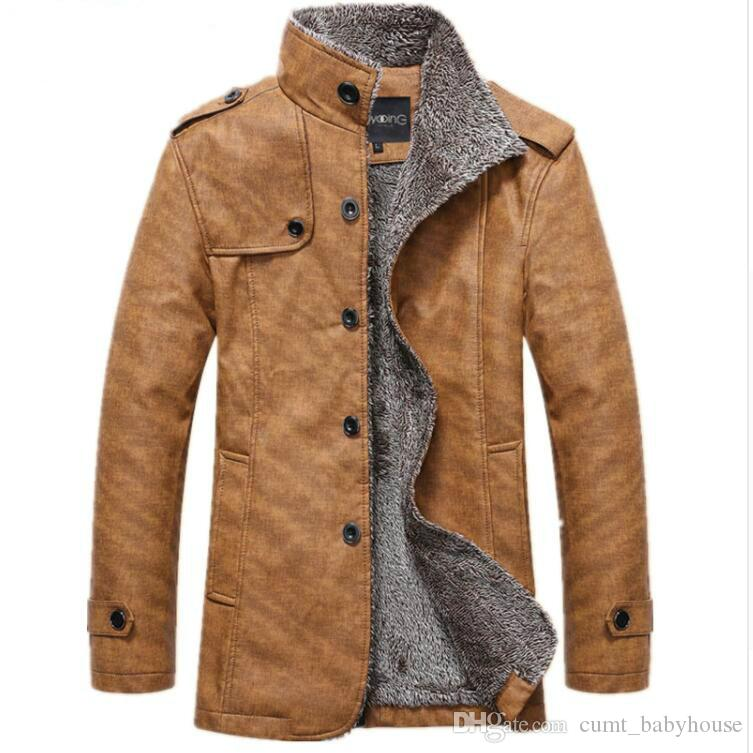 Men S Winter Jacket Men Pu Leather Motorcycle Warm Jackets Plus
