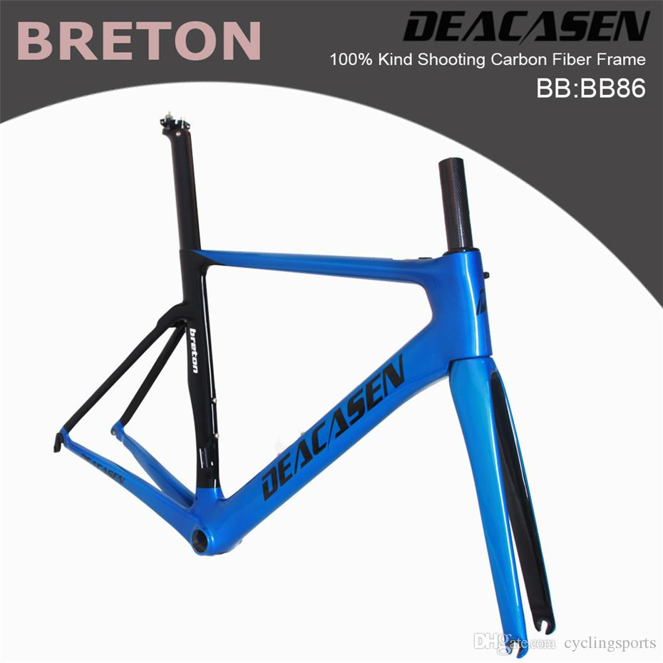 "2018 DEACASEN carbon road frame BB86 road carbon bicycle frame headset 1-1/8"" to 1-1/4"" Bicycle Cycling Frame glossy"
