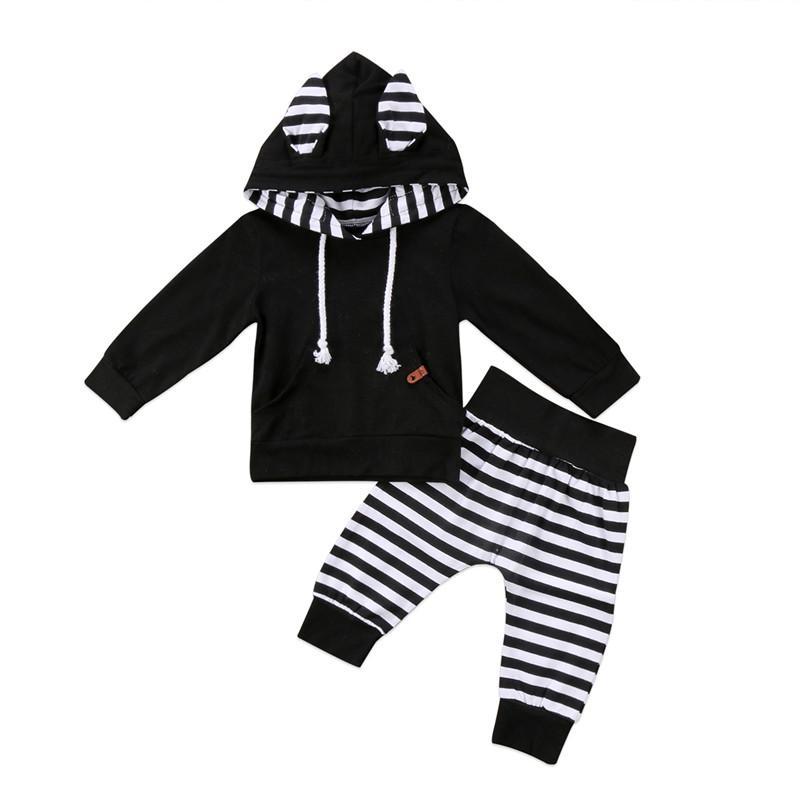 fa01ae518 2019 Newborn Kids Toddler Baby Boy Outfits 3D Ear Hoodie Tops+Stripe ...