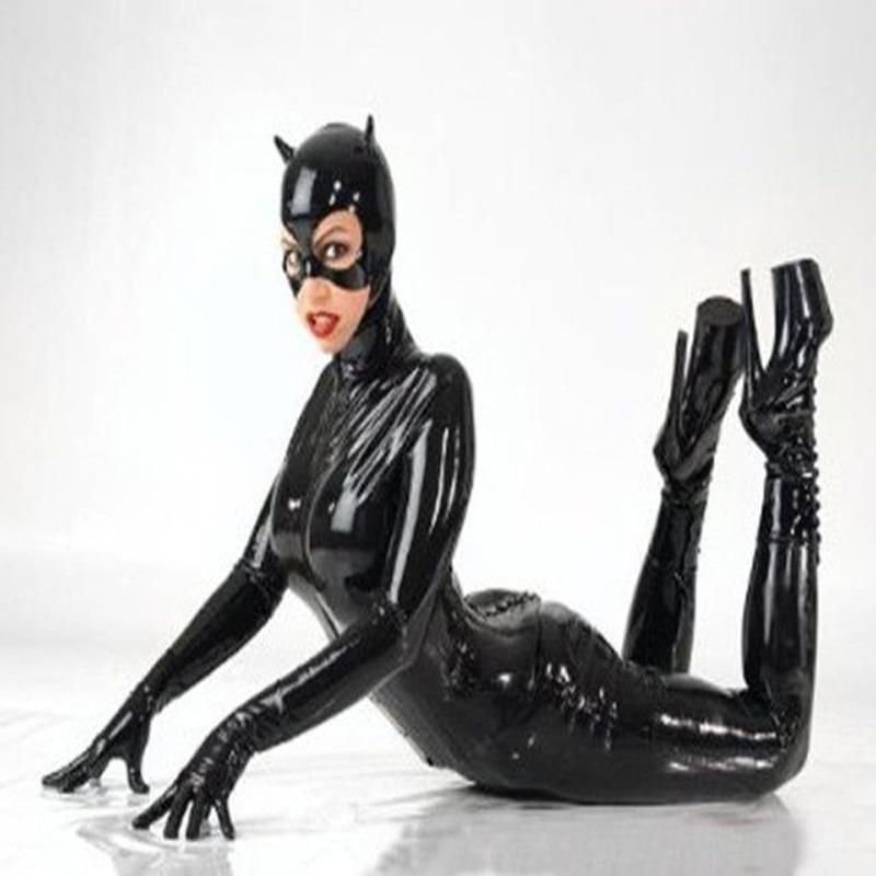 grosshandel frauen schwarz kunst leder catsuit sexy catwoman kostum katze cosplay footed jumpsuit dehnbarer 2 weise reissverschluss bodysuit mit maske von