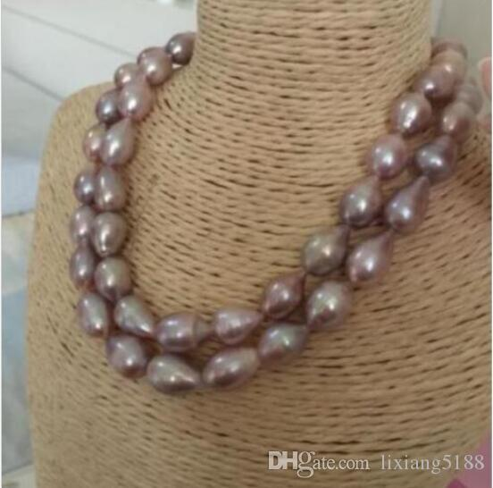 "charming 12-13mm Natural baroque south sea lavender pearl necklace 17-18"" !"
