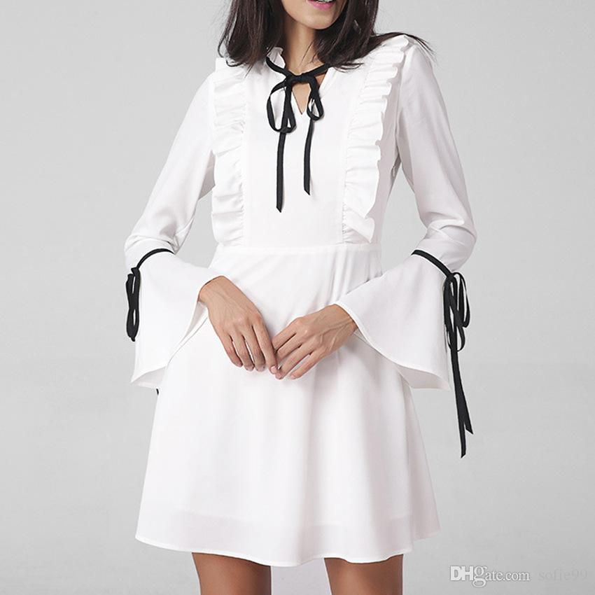 f16f334ddc4f Women Long Flare Sleeve Chiffon Tunic Dress Ruffled Feamle Spring Winter  White Dresses Bow Tie Fashion Elegant Clothes Women Long Flare Sleeve  Chiffon Tunic ...