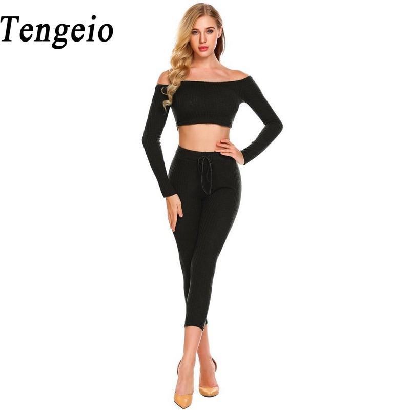 2019 Tengeio Women Two Piece Jumpsuit Casual Knit Off Shoulder Bodysuit  Slash Neck Crop Tops With Elastic Waist Long Pants Sets 1130 From Redbud06 7ff5f097b