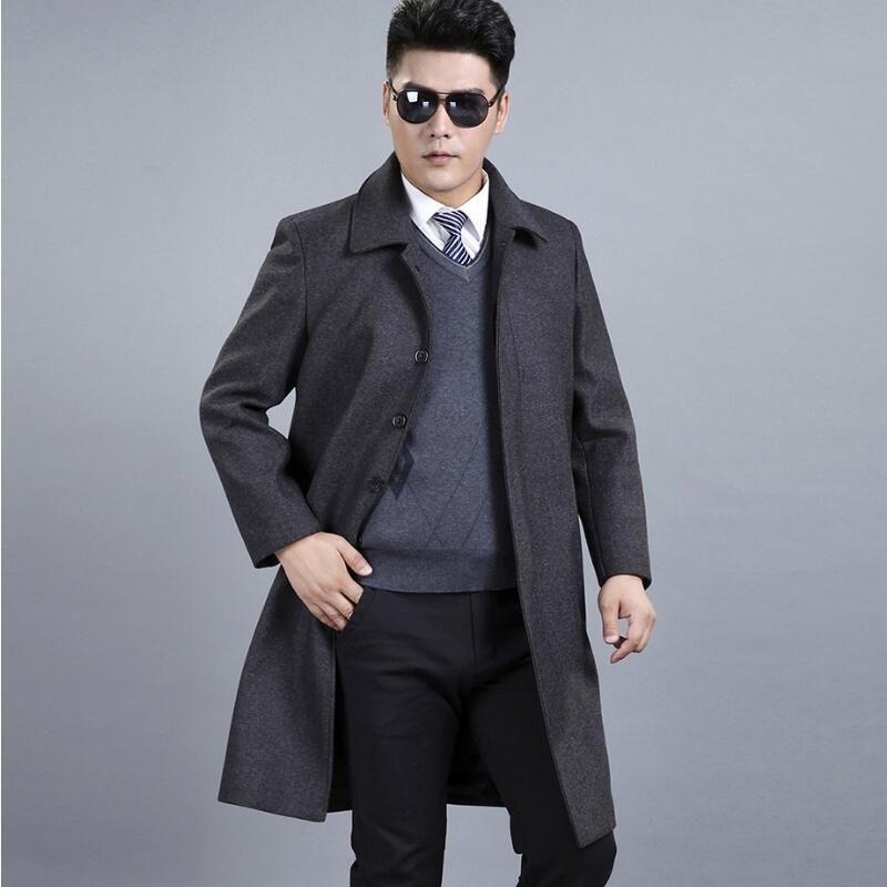 5d06b53e53f 2019 Mens Wool Winter Coats Middle Aged Fashion Classic Men Winter Jacket  Leisure Size Long Wool Coat Men From Burtom