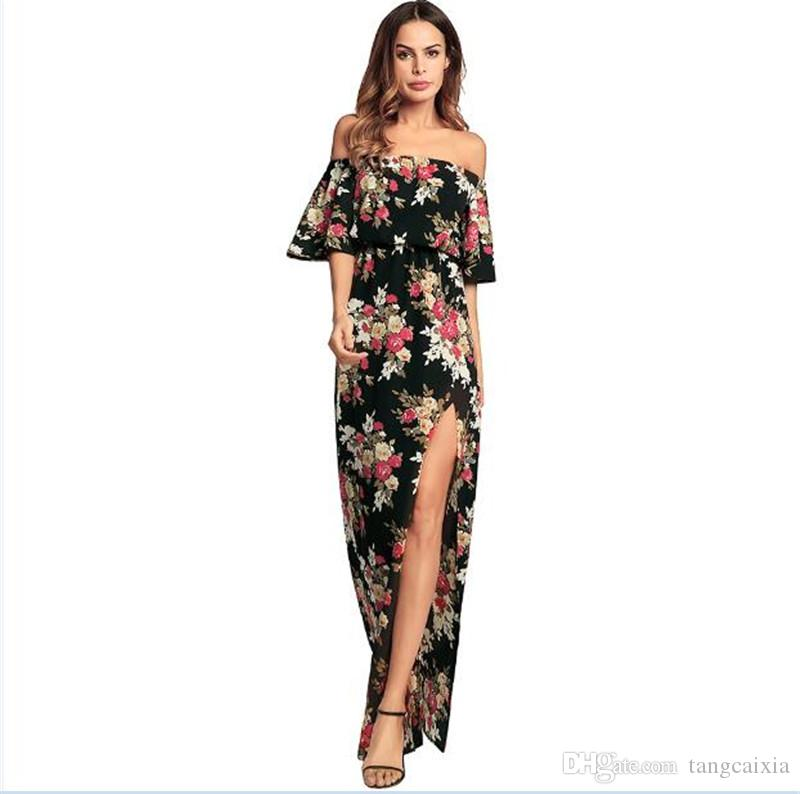 6a226f4366c0 Wholesale Women Off Shoulder Collar Ruffle Half Sleeve Split Beach Chiffon  Maxi Black Long Dresses White Cocktail Party Dress Cocktail Dresses Style  From ...