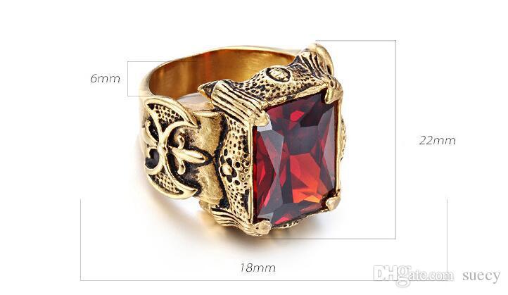 Piazza Bianco Verde Viola Red Stone Mens Anello punk dell'oro dell'annata di titanio di Dragon Claws Cubic Zirconia Ring Men Jewelry