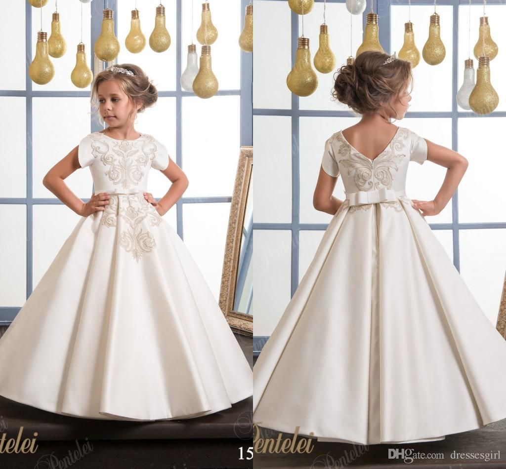 94801a0ee4325 Cheap White Flower Girl Dresses 2018 New Appliques Cap Sleeves First  Communion Birthday Party Dresses Girls Pageant Dress For Weddings