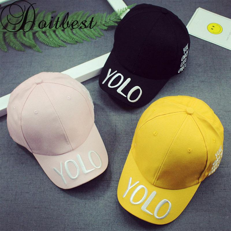 bb8a2c893 2018 New Hip Hop Children Baseball Cap Embroidery YOLO Summer kids Gorras  Boys Girls snapback Caps age for 2-7 years old kid