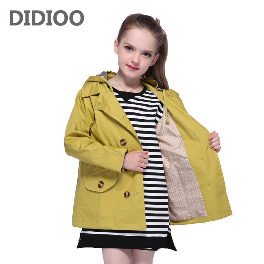 f345b86df Teenage Girls Trench for Kids Coats Big Girls Double Breasted ...