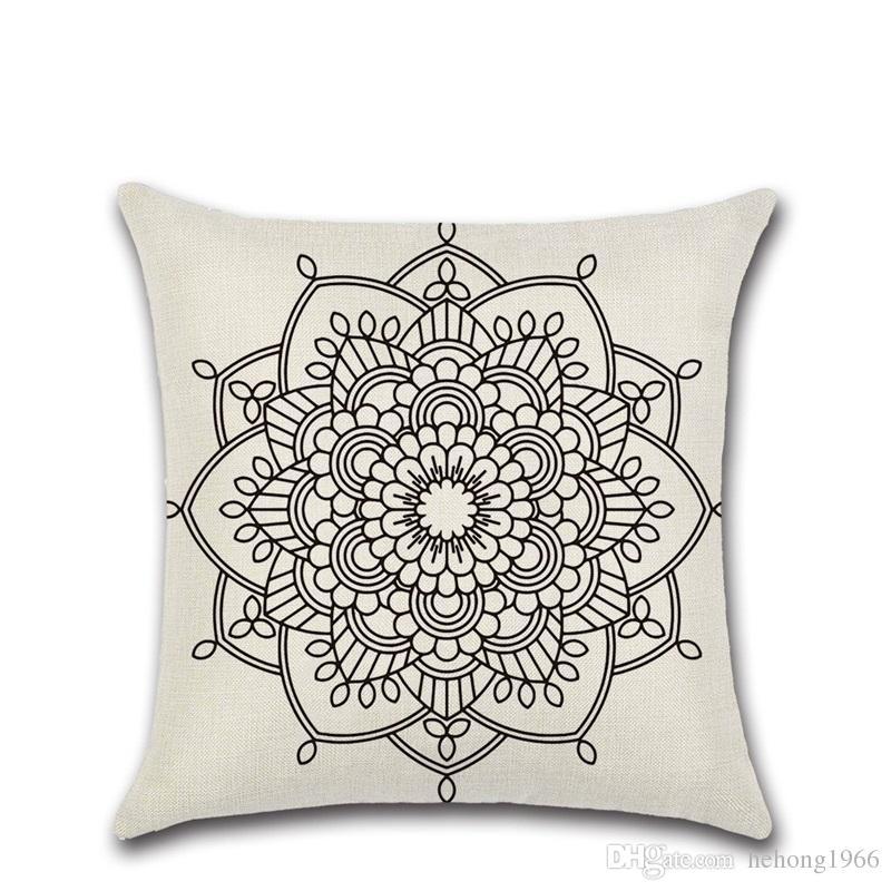 Paisley Bohême Style Coussin Couvre Géométrique Impression Ethnique Lin Jet Taie D'oreiller Canapé Siège De Voiture Décoratif À La Maison 4 8kh Y