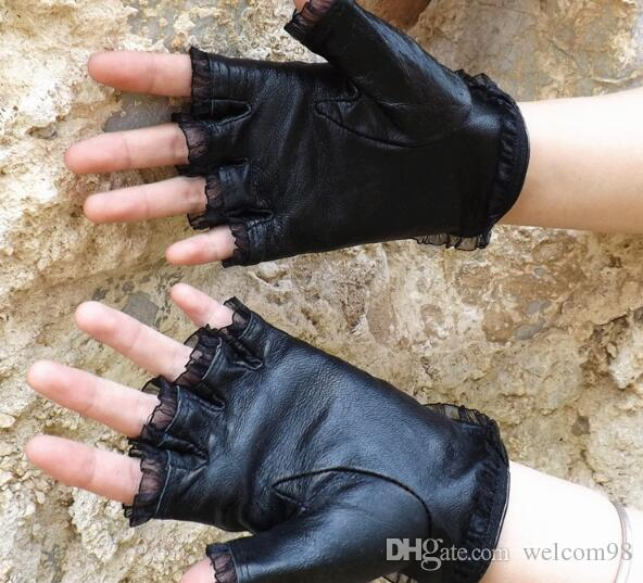 Fashion Black Real Leather Woman Fingerless Gloves For Dancing Sports GL1